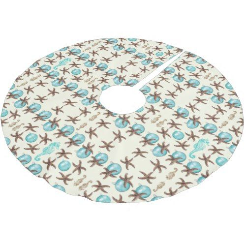 Aqua Christmas Tree Skirt: Nautical Pattern Starfish And Seahorse Ecru Skirt Brushed
