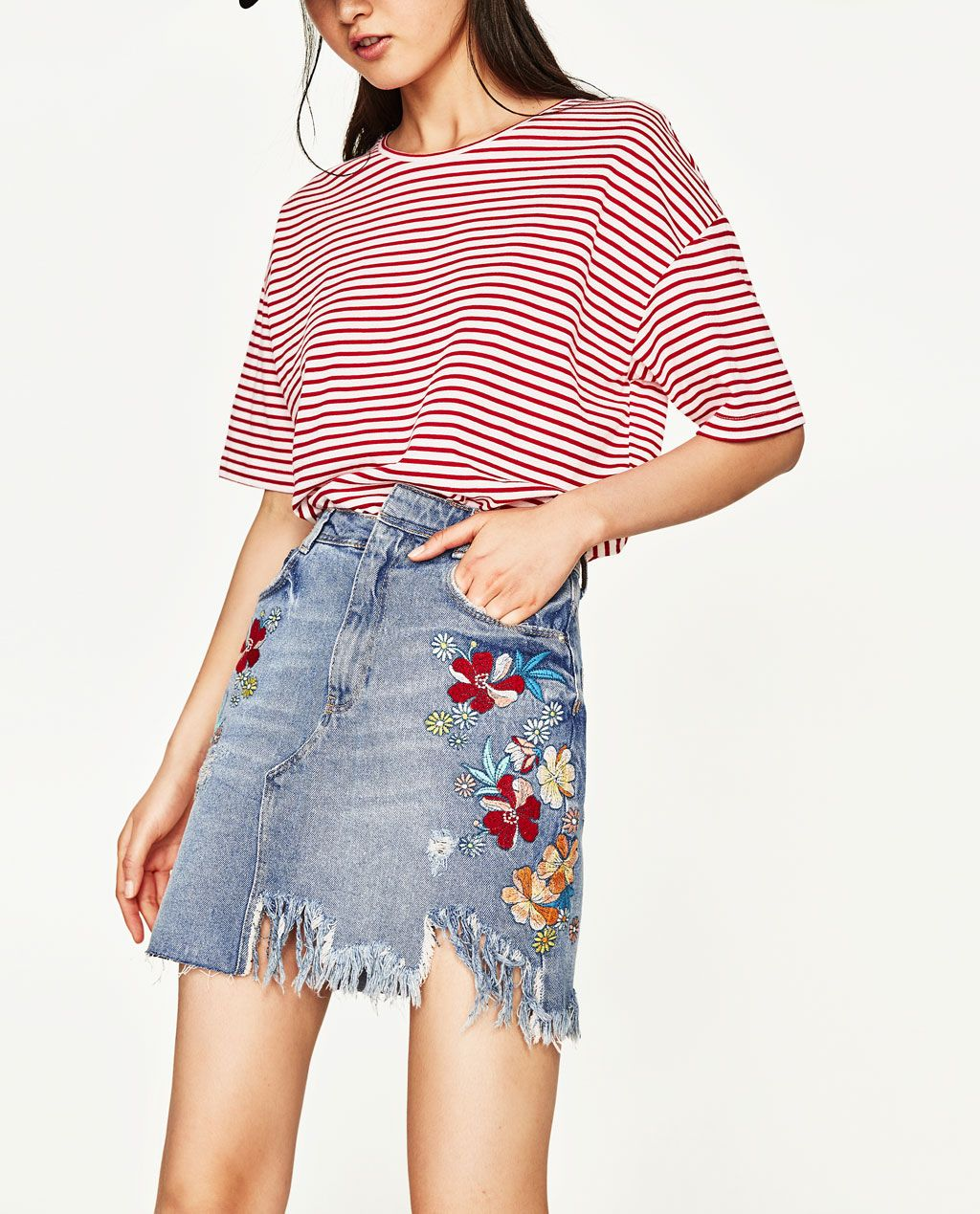 4c5ab15601 EMBROIDERED DENIM SKIRT-View All-SKIRTS-WOMAN | ZARA United Kingdom ...