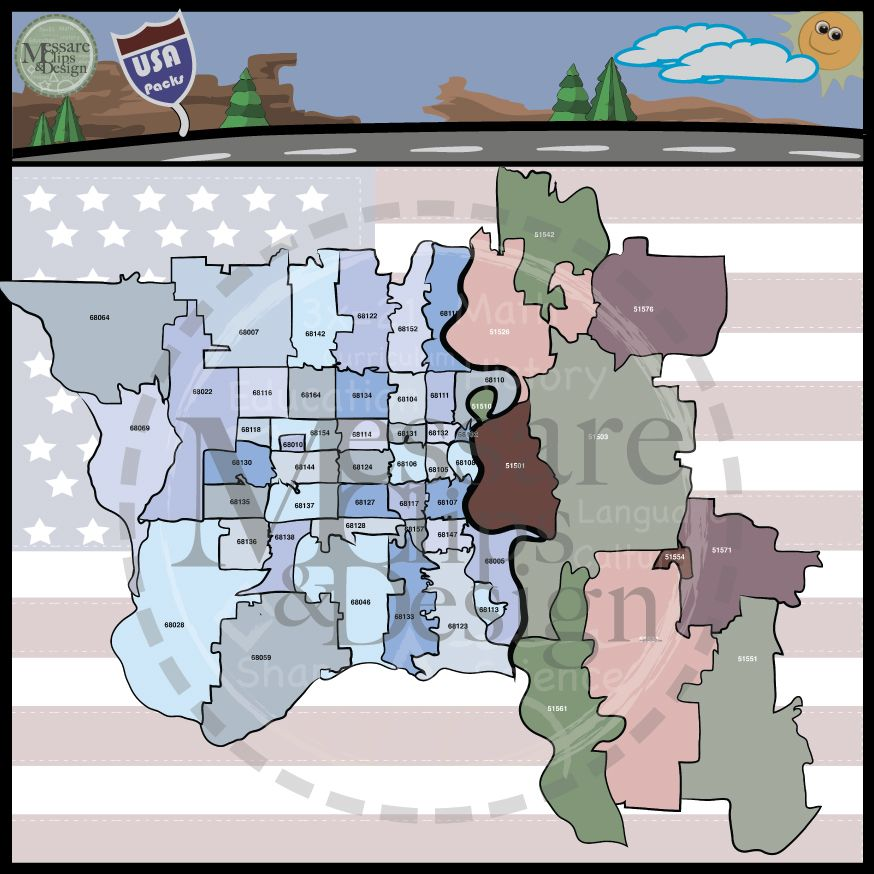 USA Sets Nebraska & Omaha Area Zip Code Maps Custom