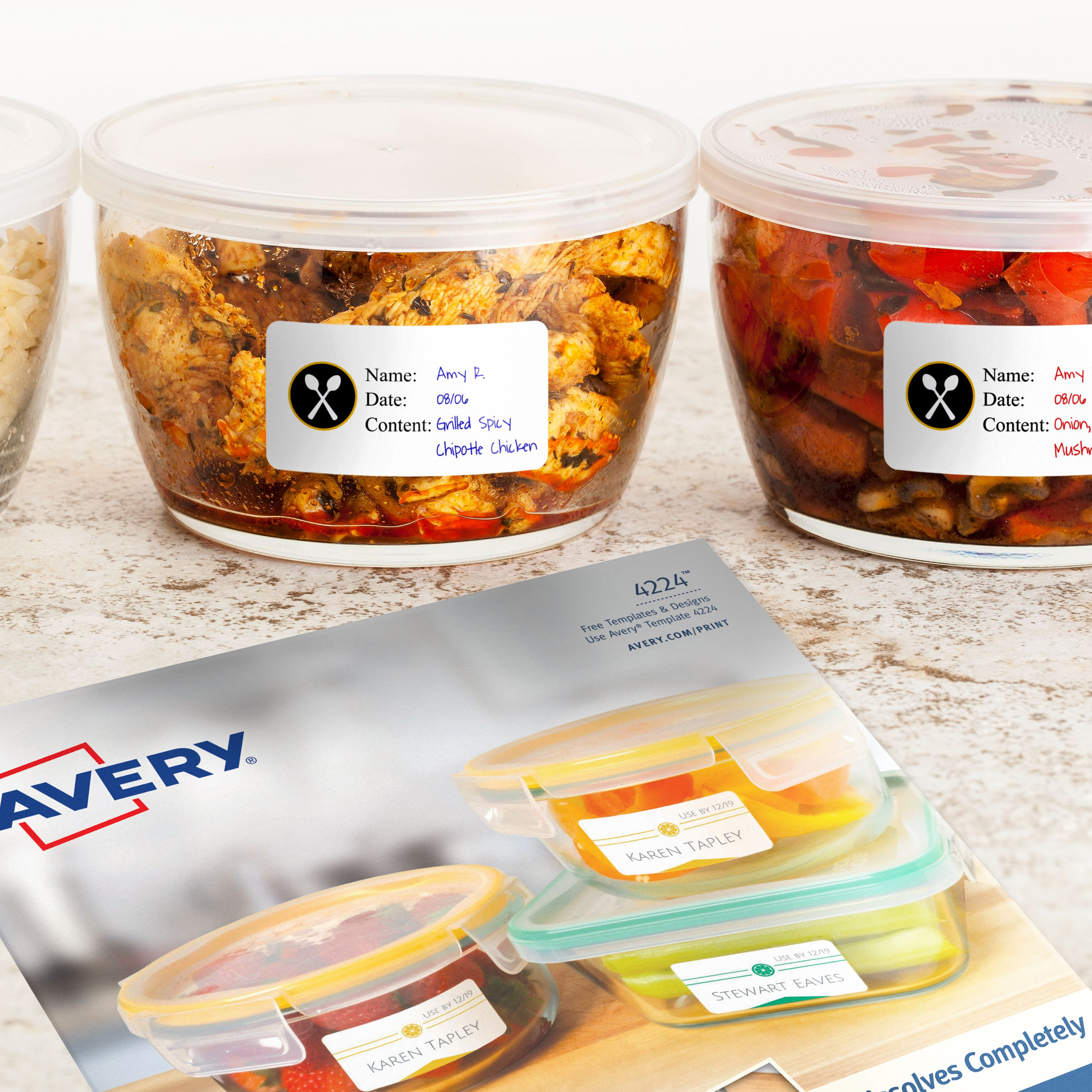 Food Storage Labels Free Template Printables Reusable Lunch Containers Lunch Containers Avery Labels