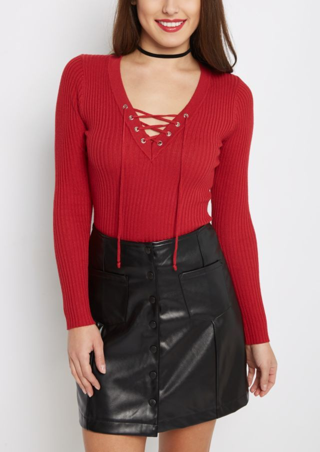 image of Red Lace-Up Sweater | Tops For Women | Pinterest | Red ...
