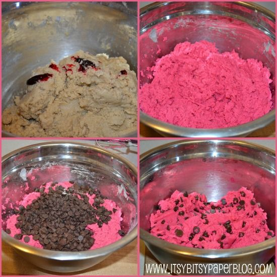 recipe for these pink Chocolate Chip Cookies . . . Fun idea to add ...