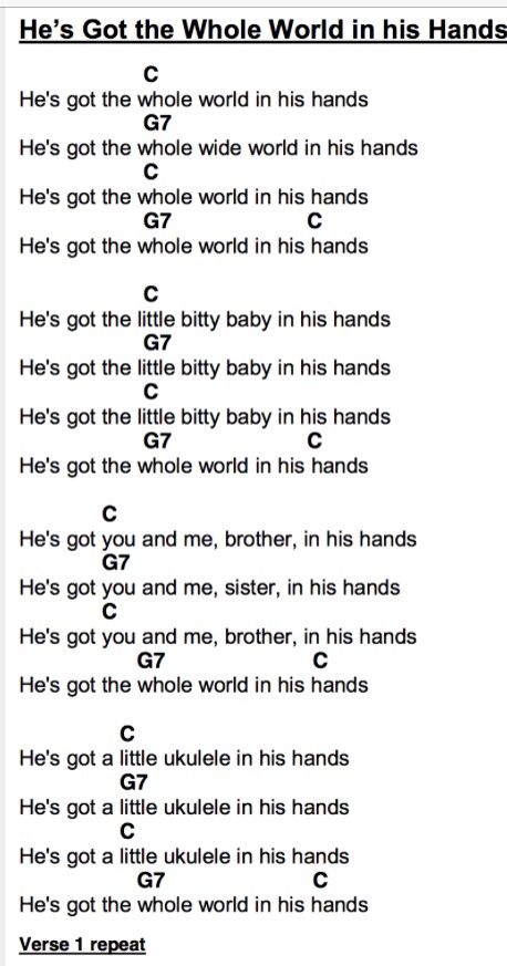He\'s got the whole world in his hands - Ukulele chords and Lyrics ...