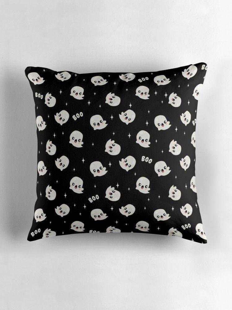 Cute kawaii ghost pattern throw pillow throw pillows