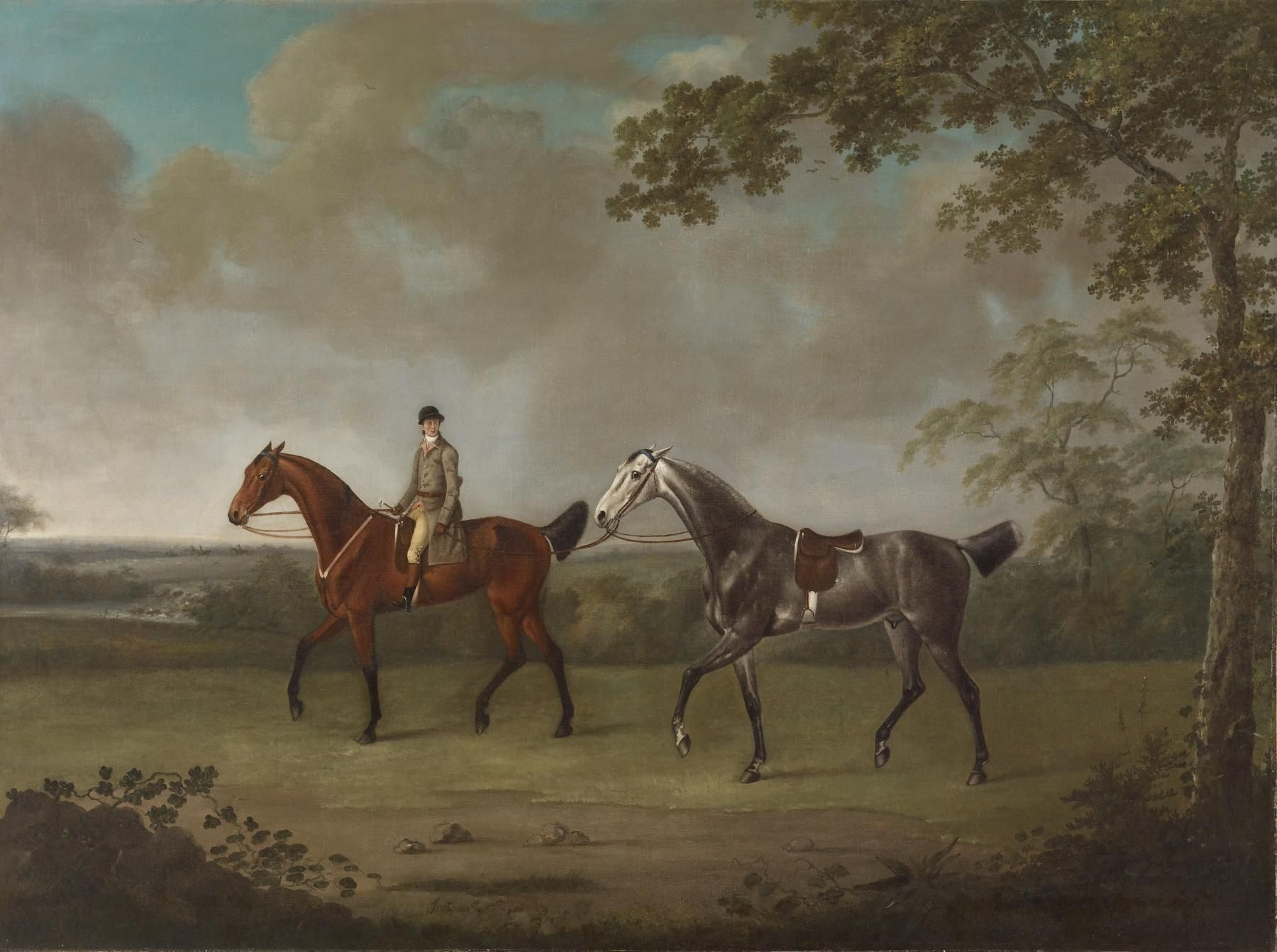 Two Horses with a Groom by George Stubbs, (1780). | 18th Century ...