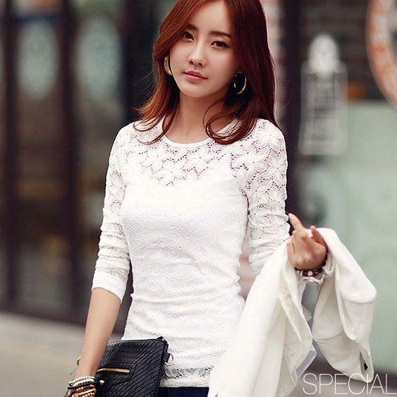 Free Shipping New 2016 Autumn Women Lace shirt Fashion Long sleeve hollow blouse shirt Plus size women tops M-5XL chiffon shirt