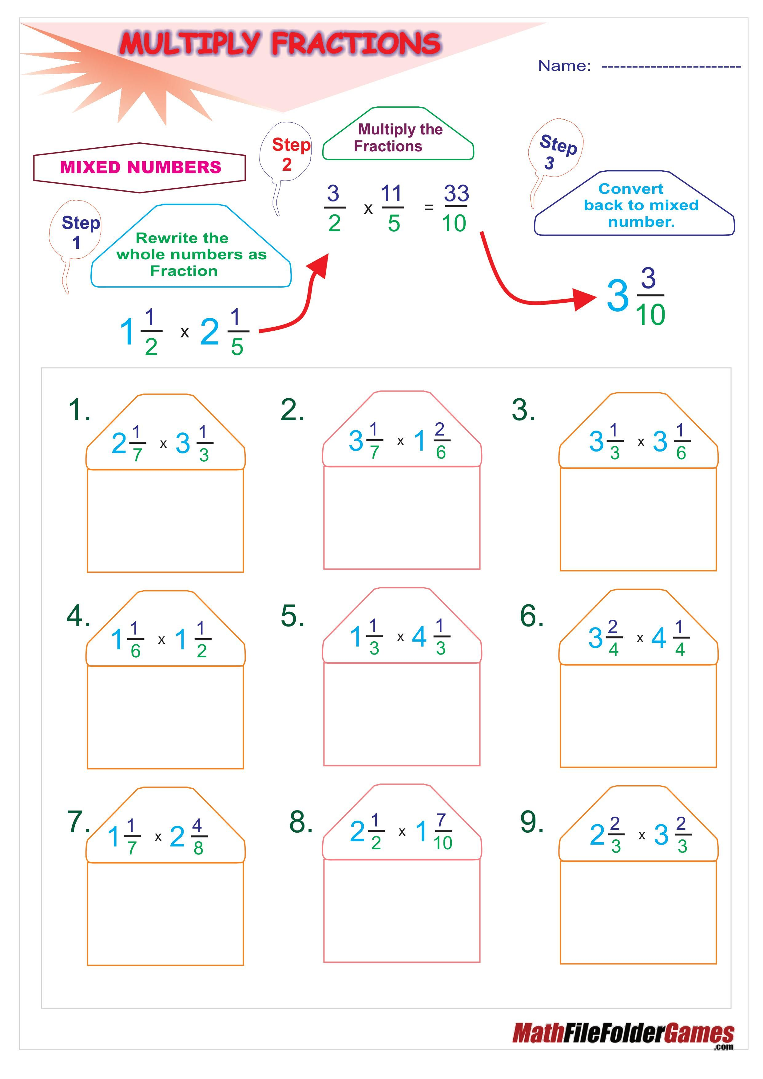 Multiply Fractions Poster By A Fraction Whole Number