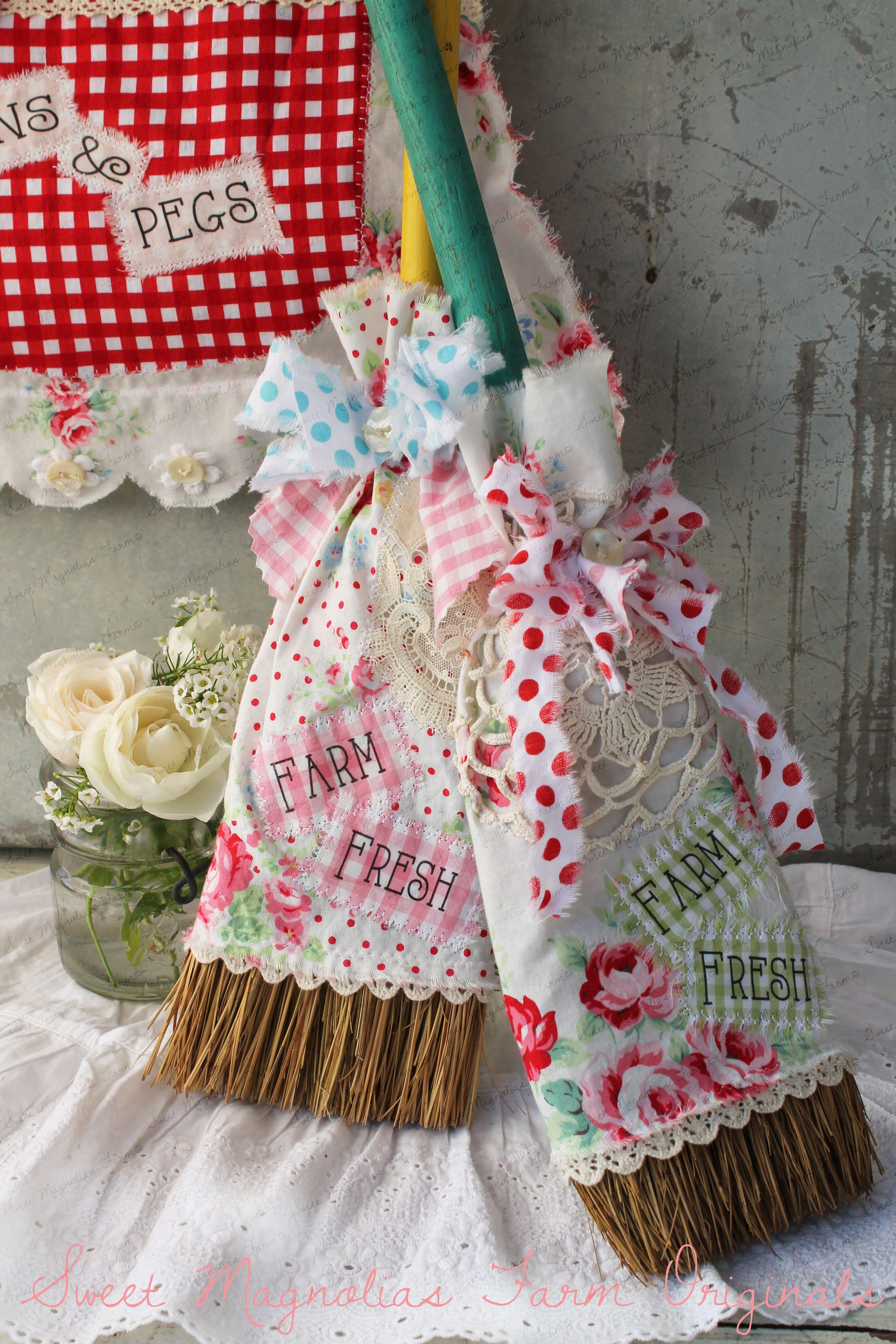 Farm Fresh Slip Covered Broom by SweetMagnoliasFarm