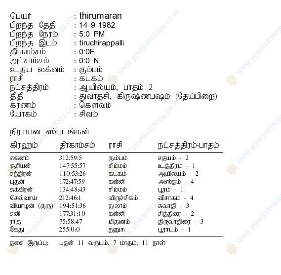 free date of birth astrology in tamil