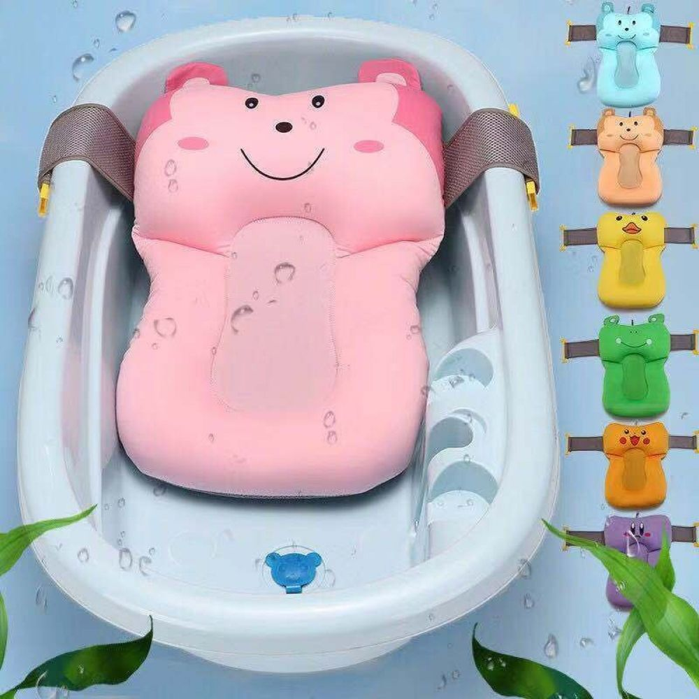 1pc Portable Bebe Antiderapant Baignoire Nouveau Ne Coussin D Air Lit Chaise Etagere Bebe Douche Mignon Animal Dessin Anime B In 2020 Baby Bath Baby Bath Seat Bath Pad