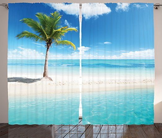 Amazon Com Light Blue Curtains Ocean Decor By Ambesonne Beach