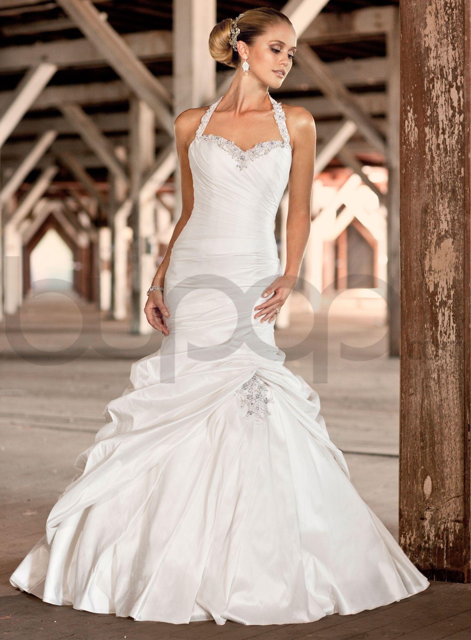 french mikado mermaid halter sweetheart wedding dress | WEDDING ...