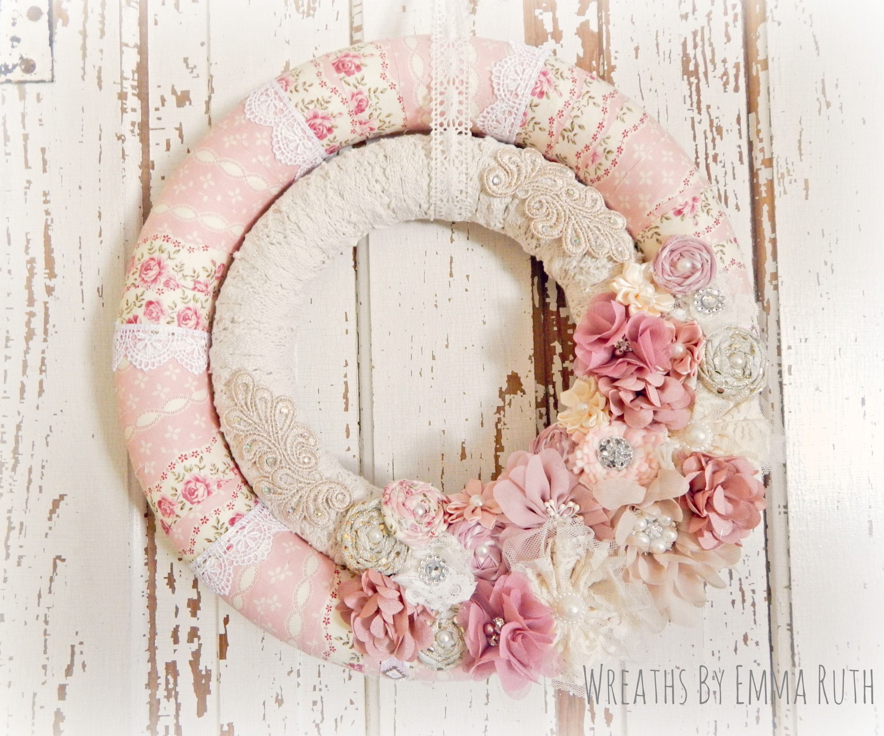 shabby chic double wrapped wreath made by wreaths by emma. Black Bedroom Furniture Sets. Home Design Ideas