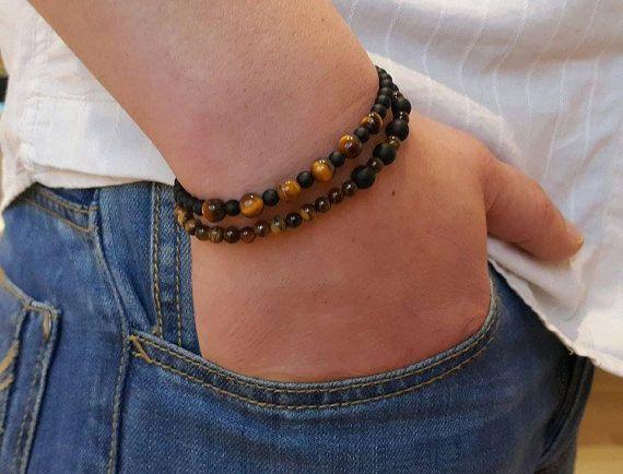 Mens Bracelet ONYX TIGER EYE Bracelet Mens Stone Bracelet Beads Bracelet Bracelet for Men Mens Jewelry