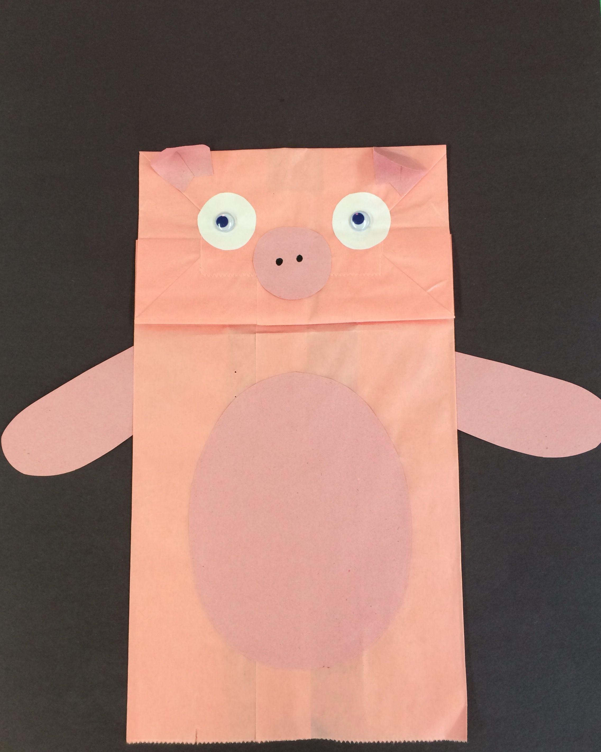 Títere de cerdito hecho con bolsa de papel y papel de construcción ...