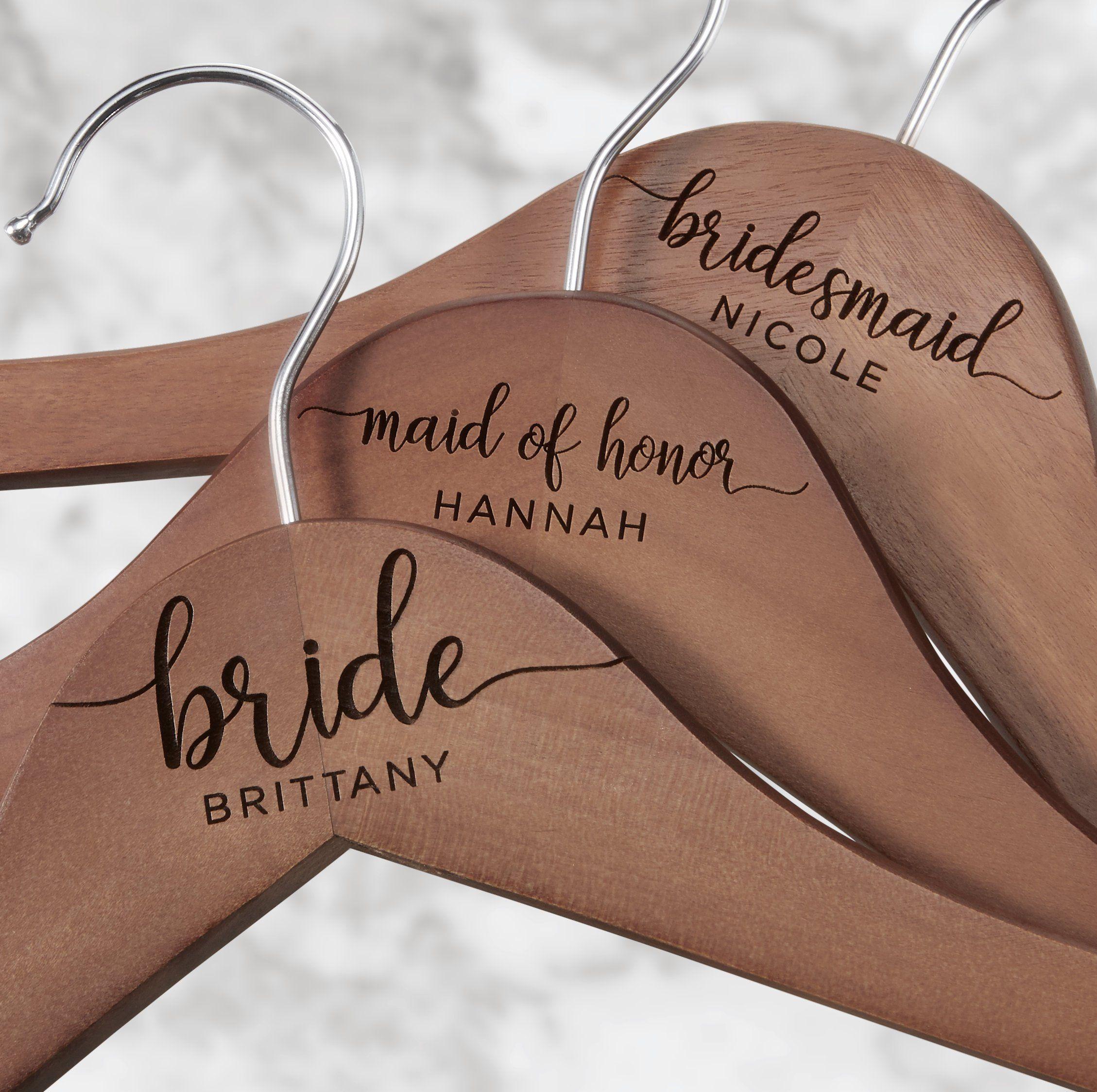Walnut Wedding Hanger Bridal Hanger with Hearts