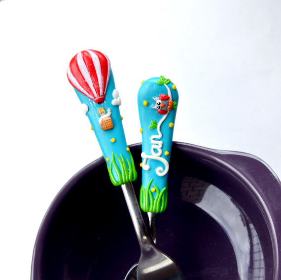 Hot Air Baloon Kids Gift for Boy or Girl Cutlery Set Children or Adult Size Unique for Toddler Present Polymer clay Blue Red Silverware Set  Let
