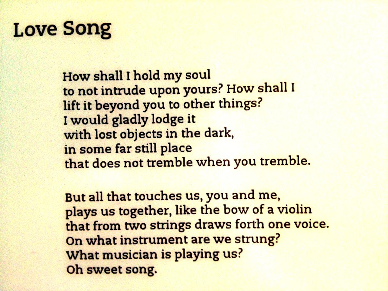 Love Song by Rainer Maria Rilke poetry