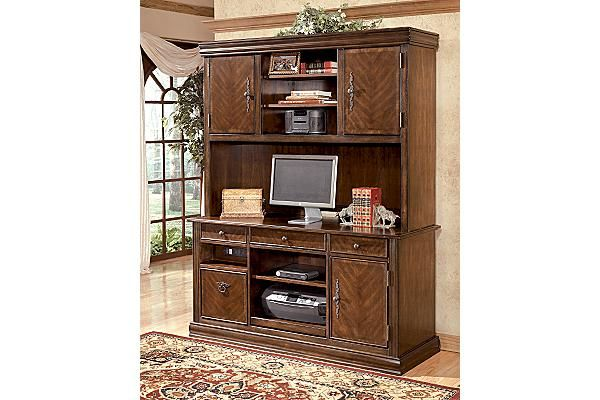 """The Hamlyn Home Office Desk from Ashley Furniture HomeStore (AFHS.com). With rich traditional style infused with a European flair, the sophisticated elegance of the """"Hamlyn"""" home office collection is sure to enhance the beauty of any home office decor."""