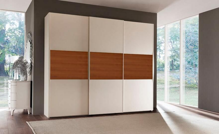 Wood color laminate finish wardrobe wardrobe design in - Bedroom cabinets with sliding doors ...