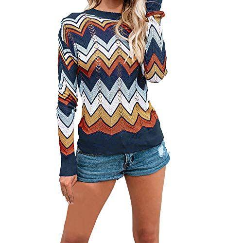Chandail Femme Hiver Chic Koly Manteau en Tricot Épais Pull Sweater à  Rayures Femme Chaud Haut 39ae1482d49