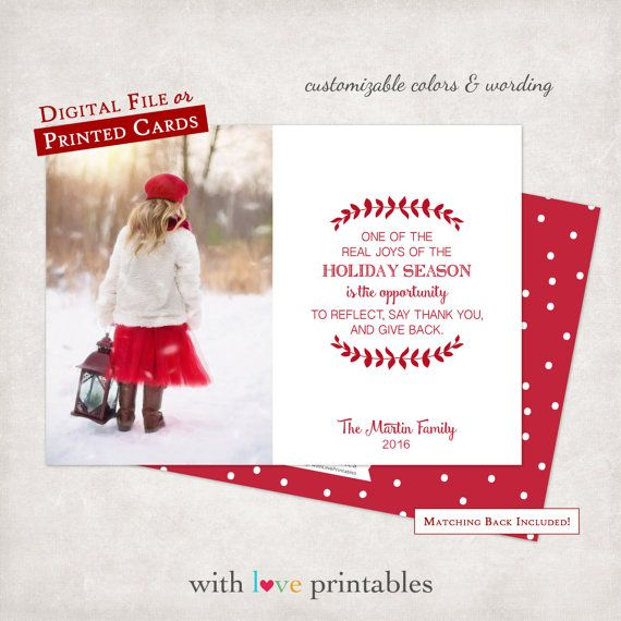 Photo Christmas Holiday Card Modern Red | RUSH OPTION | Photo New ...
