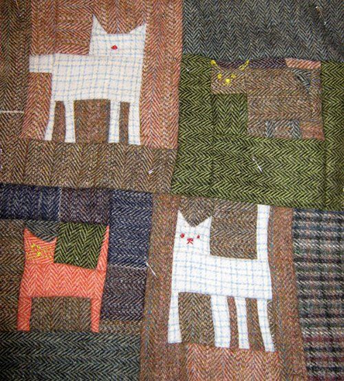 Harris tweed patchwork cat
