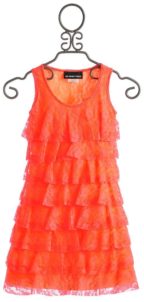 19c053461 Un Deux Trois Tiered Neon Coral Tween Dress $99.00 | Wedding Ideas ...