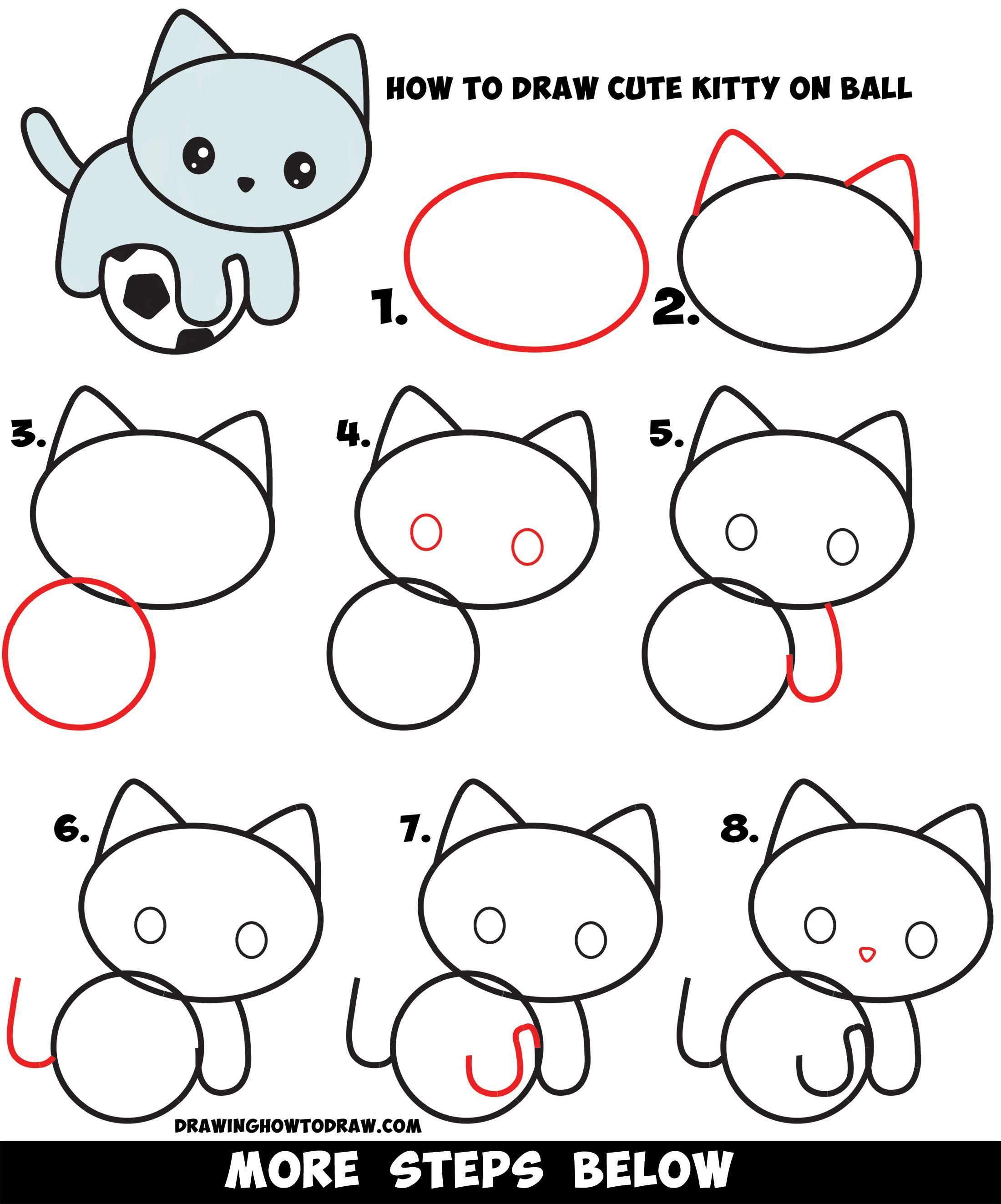 How To Draw A Cute Kitten Playing On A Soccer Ball Easy Step By Step Drawing Tutorial For Kids How To Draw Step By Step Drawing Tutorials Drawing Tutorials For