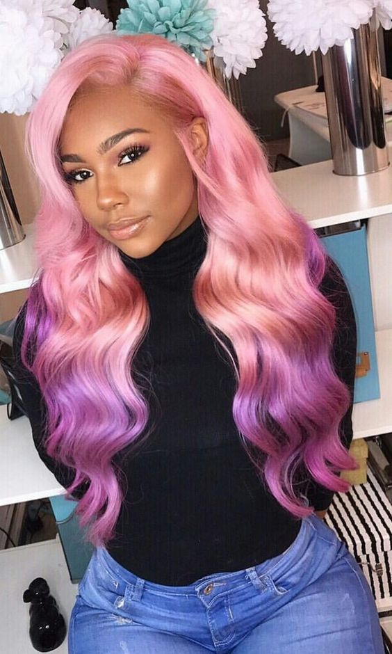 Beautiful pink long wavy wigs for black women human hair wigs lace front  wigs hairstyles 1dfd392d1f