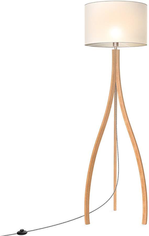 Tomons Modern Artistic Style Wood Tripod Floor Lamp White Tc Cloth Shade E26 Bulb Base 160cm 63 Inch Height 1 4m Tripod Floor Lamps Floor Lamp Tripod Floor