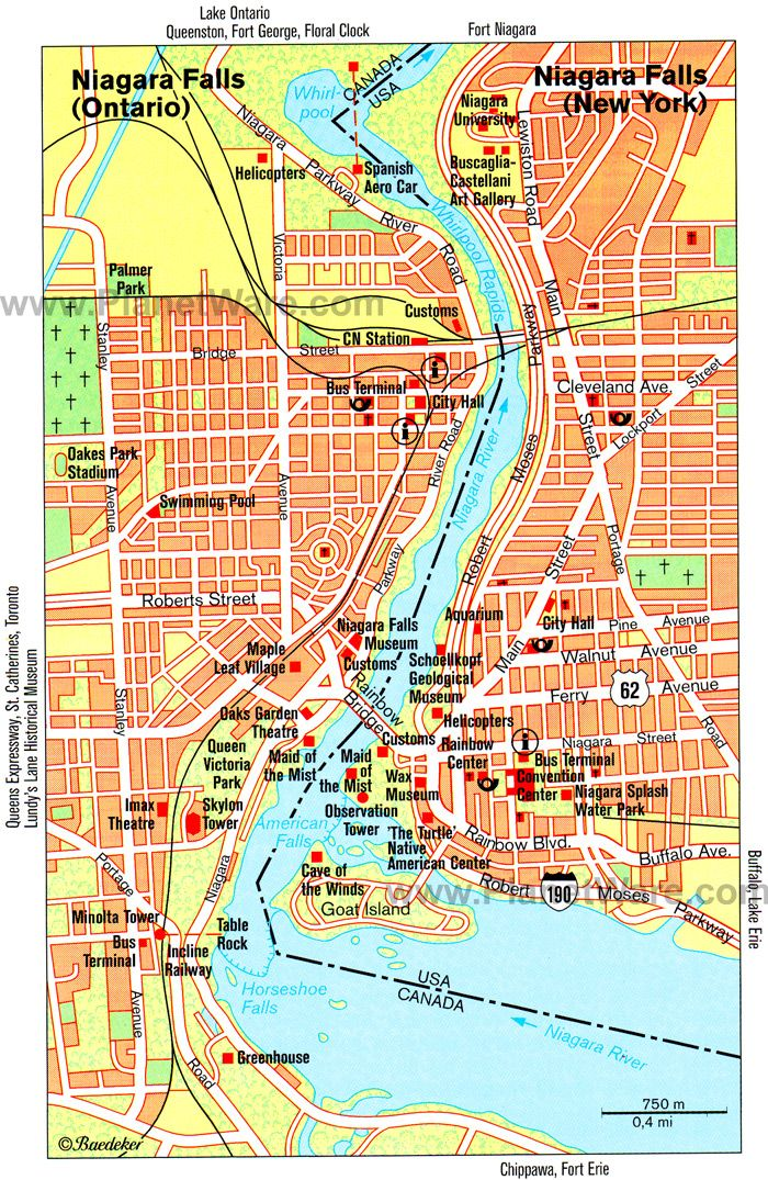 Map Of Niagara Falls Attractions Planetware Visiting