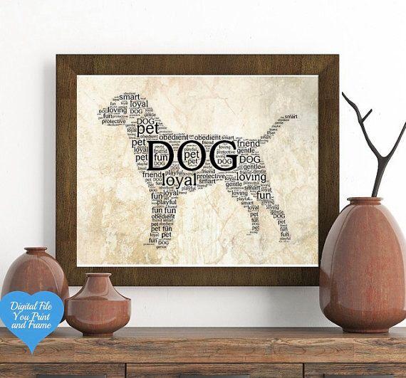 Dog Puppy Pet Word Art Wall Art Printable Art Download Digital Sign You  Print U0026 Frame