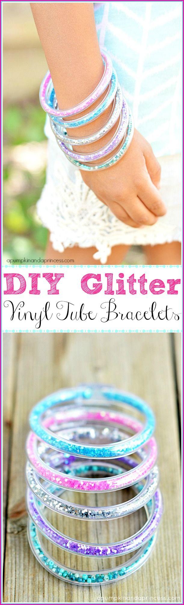 How to make glitter vinyl tube bracelets easy craft idea for girls