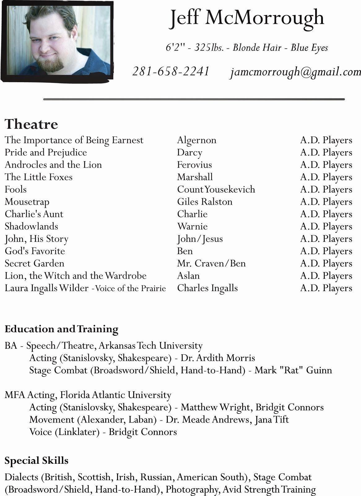 Beginner Actor Resume Template Beautiful Talent Star Acting Resume Actor Beginner Kids Theatre Resume Design Template Resume Template Acting Resume Template