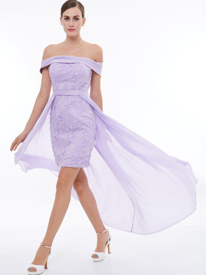 Off the Shoulder Appliques Lace High Low Bridesmaid Dress ... ac147134bae1
