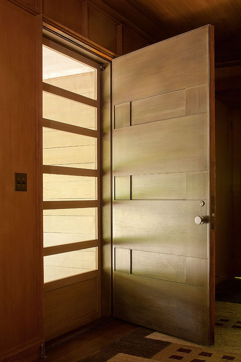 Northwest Modern Inspiration A Tour Of The Aubrey Watzek House Modern Exterior Doors Wooden Front Door Design Midcentury Modern Front Door