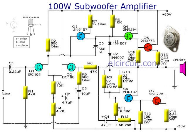 100w Subwoofer Amplifier Circuit Diagram 1966 Ford Mustang Alternator Wiring Output With Transistor Audio Schematic