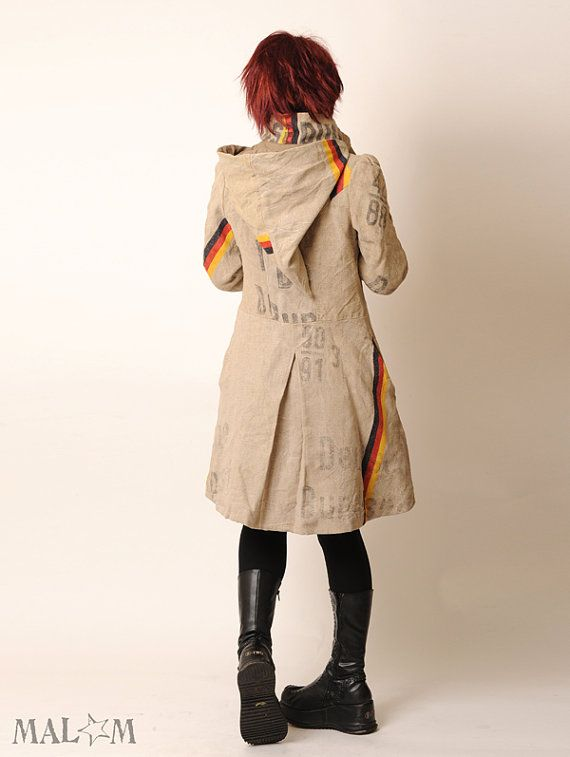 Camille Coat with Goblin Hood and tall collar - Repurposed German postal bags - Eco fashion ~ Malam @ etsy  ~ check out the Gnome hood here ~ http://pinterest.com/pin/110619734567450773/