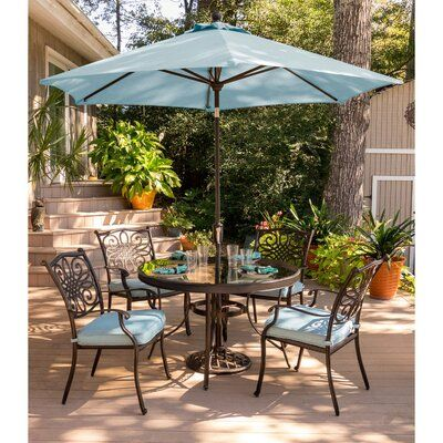 Canora Grey Robicheaux 5 Piece Dining Set With Cushions Patio Glass Top Dining Table Outdoor Dining Set