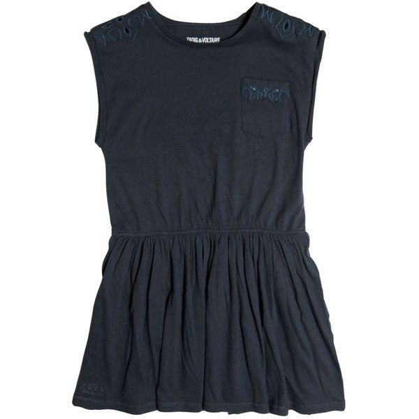 Zadig&voltaire Kids-girls Embroidered Cotton Jersey Dress (705 NOK) ❤ liked on Polyvore featuring navy