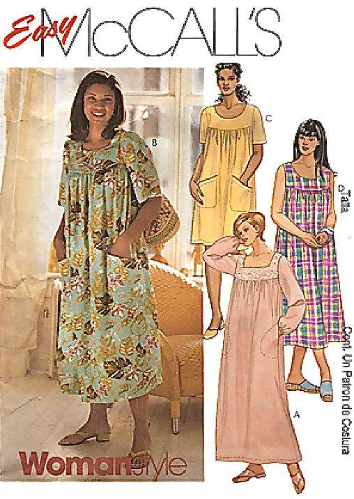 plus size dress sewing pattern - womens muu muu lounge dresses