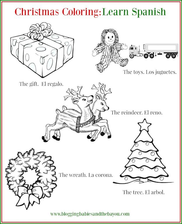 Christmas Coloring Sheet Bilingual Learn Spanish Christmas