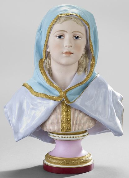 A Tinted (Porcelain) Bisque Bust Figure Depicting Young Girl With Blue Cape, attributed to Gille Jeune, Paris circa 1830-1870