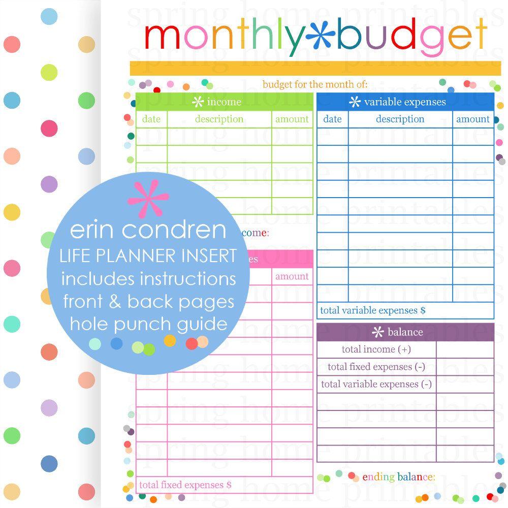 Monthly Budget Erin Condren Life Planner Erin Condren Insert
