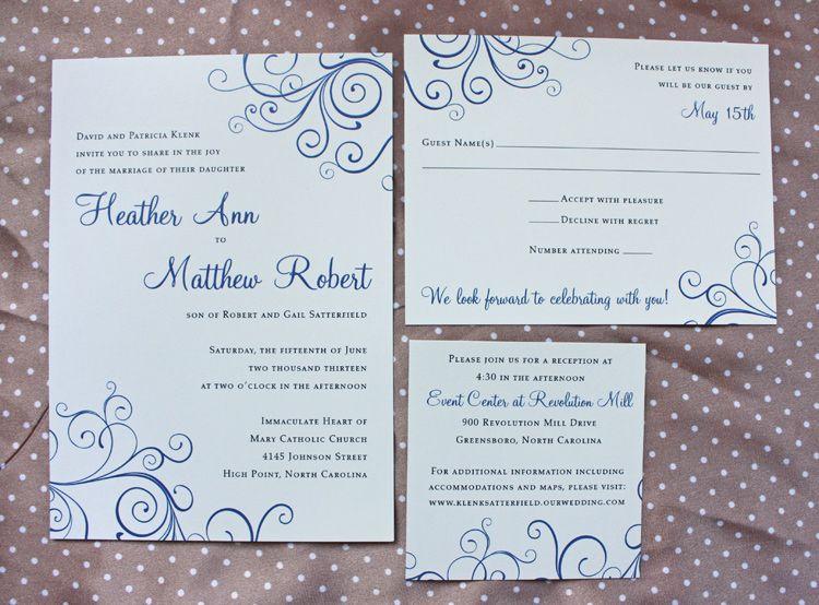 Royal Blue Swirls Wedding Invitations Wedding Invitations