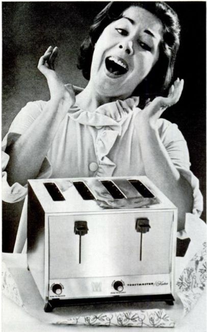 """Oh Joy!"" Proper reaction upon receiving yet another pop-up toaster from one's loving family for Mother's Day."