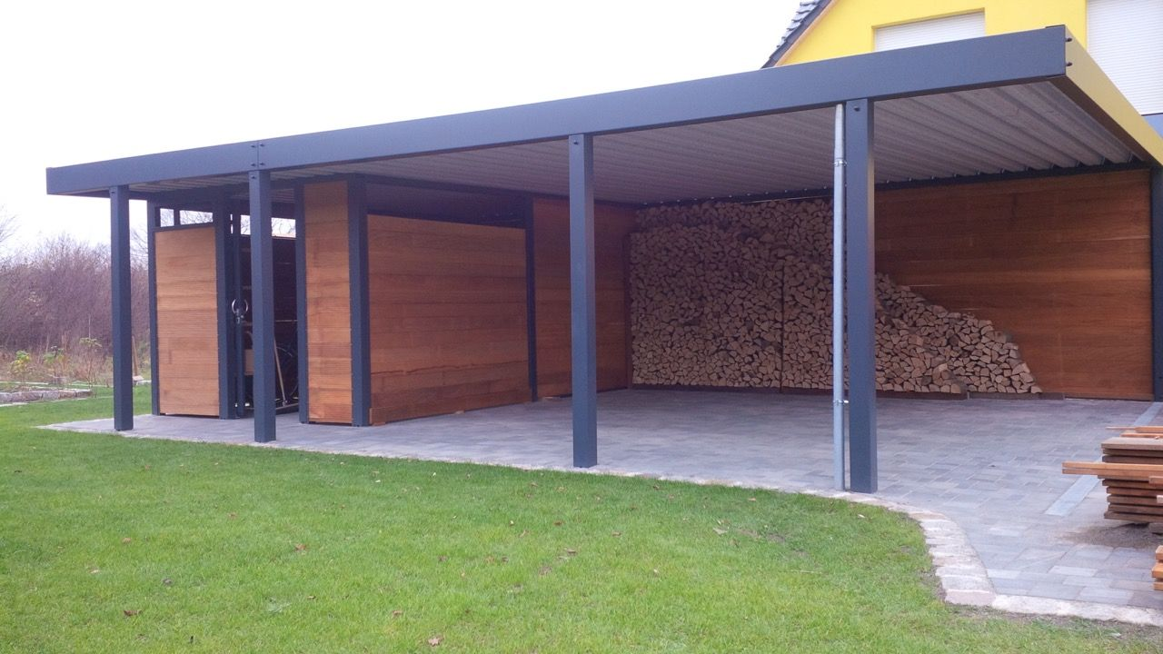 Metallcarport Brennholzlager Bauhaus Gerateraum Fahrradunterstand Carport Haus Carport Uberdachung