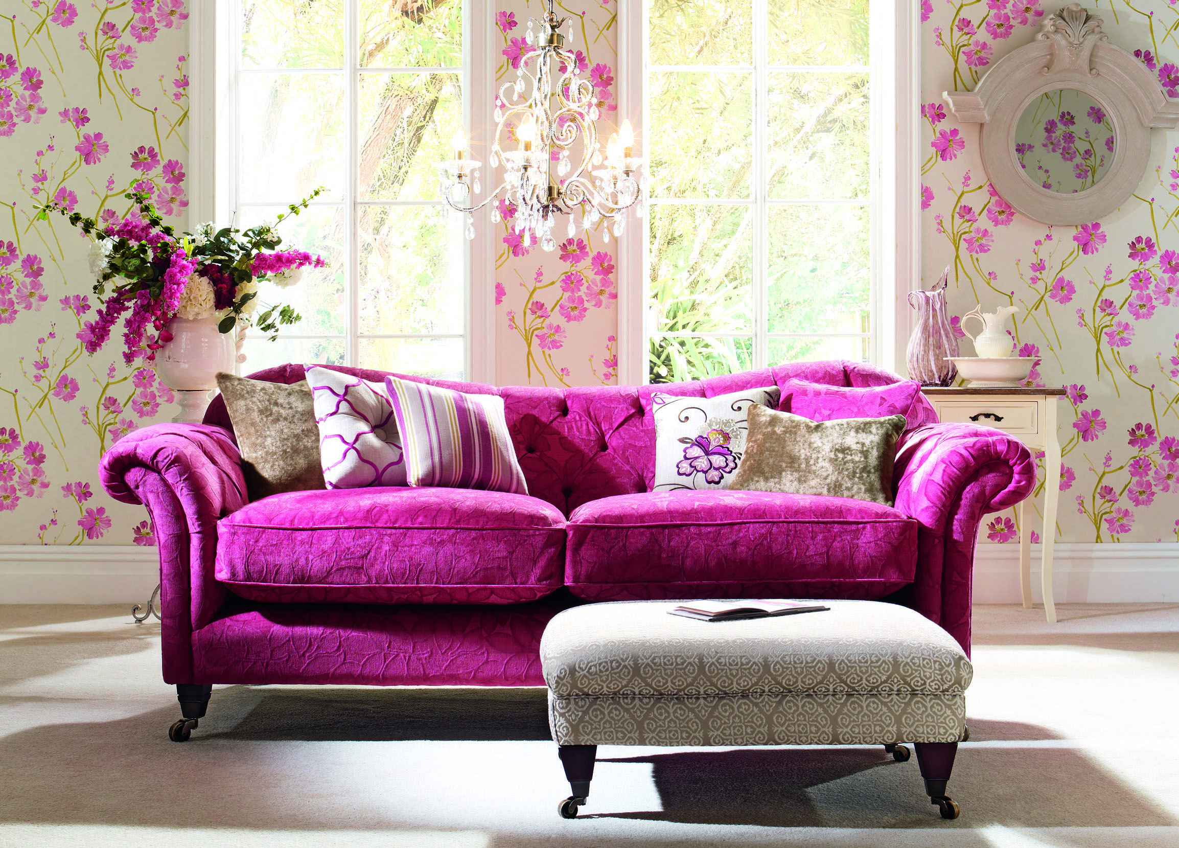 Sofa reupholstered in Elite Crocus Spring living room