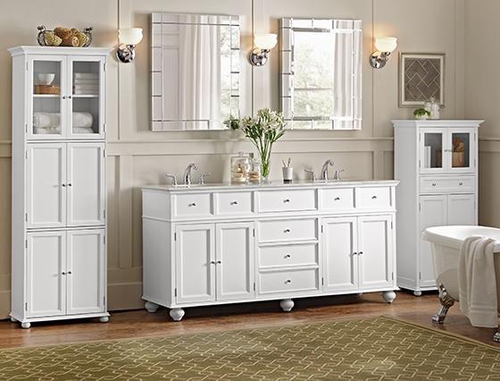 Hampton Bay Double Vanity With White Marble Top Final Bathroom - Hampton bay bathroom cabinets
